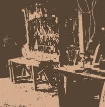 Estampa de la carpintería antes de su transformación en Museo
